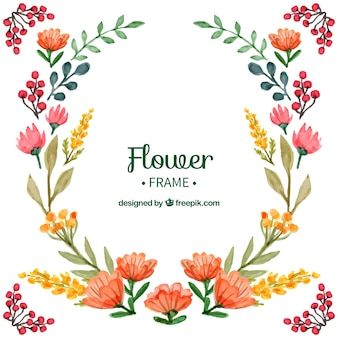 Watercolor floral frame with modern style