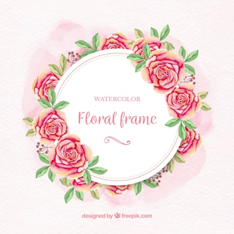 Watercolor floral frame with roses and leaves