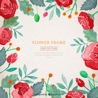 バラの水彩画の花のフレーム