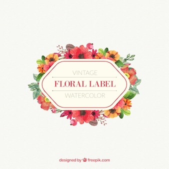 Watercolor floral label in vintage design