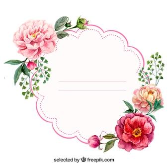 水彩花のラベル