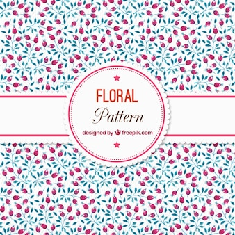 Watercolor floral pattern with berries