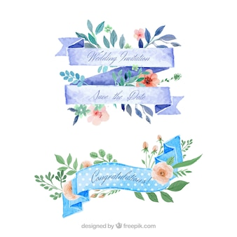 Watercolor floral ribbons for wedding