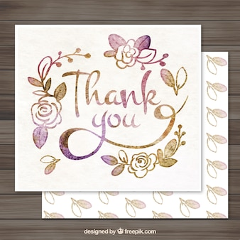 Watercolor Floral Thank You Letter