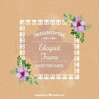 Watercolor floral wedding card with a decorative frame