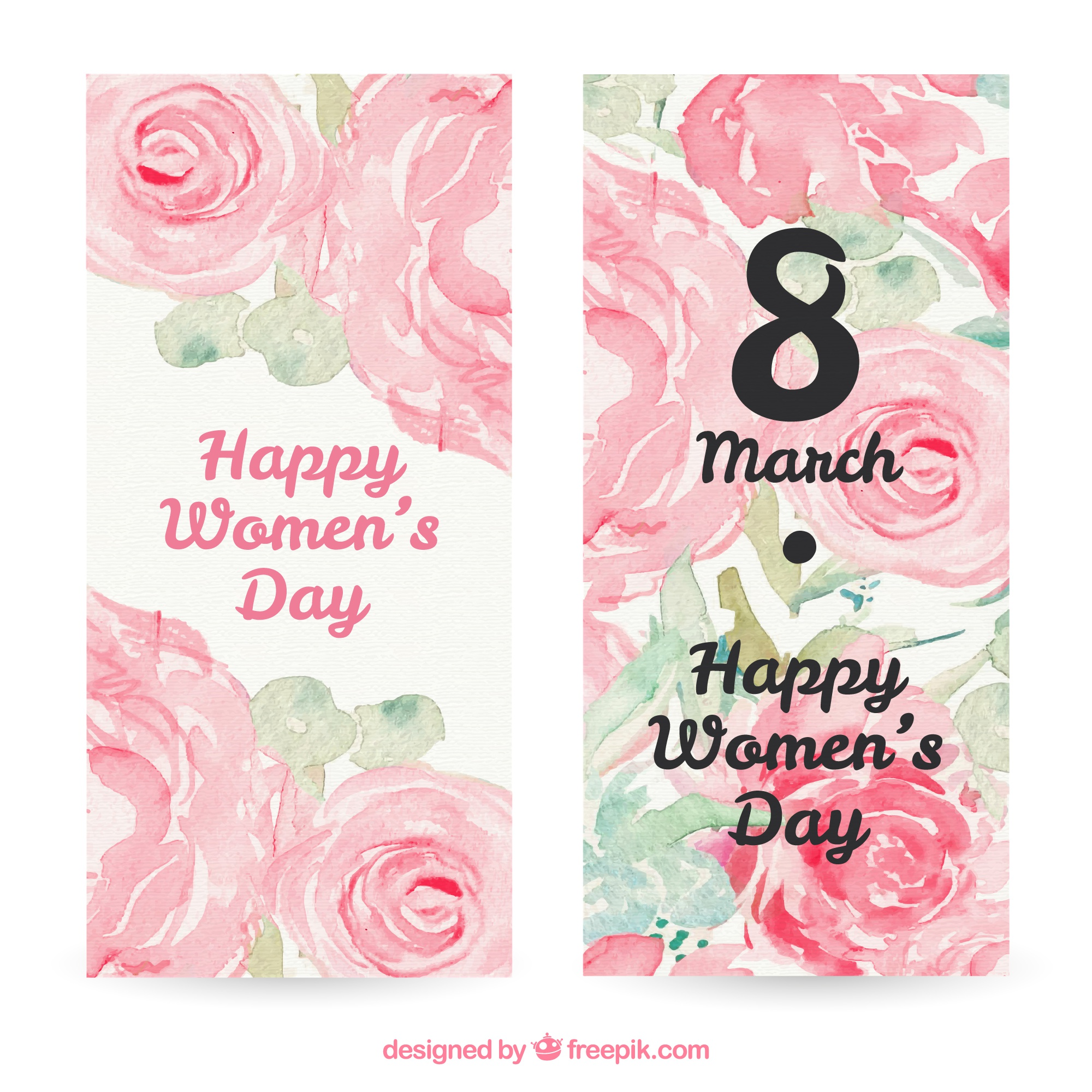 Watercolor Floral Women Day Cards