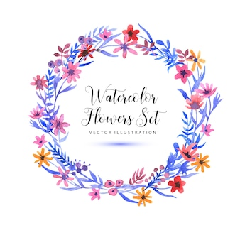 Watercolor floral wreath background