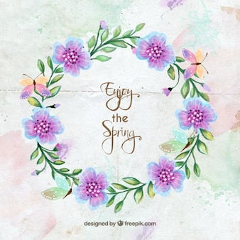 Watercolor floral wreath with butterflies and a spring phrase