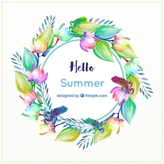 Watercolor floral wreath with frogs in tropical style