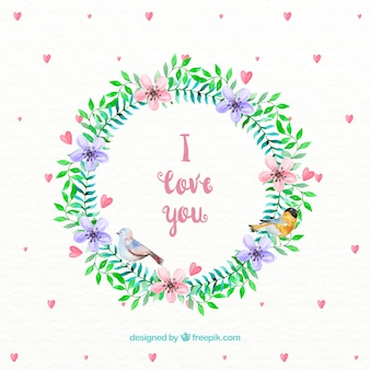 Watercolor floral wreath with heats background