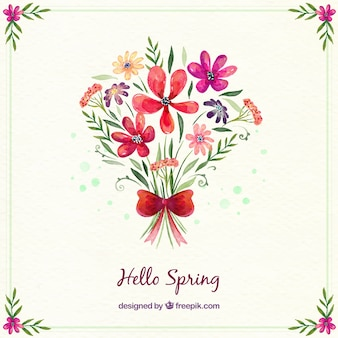 Watercolor flower bouquet background
