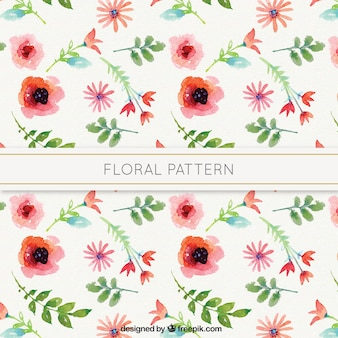 Watercolor flowers artistic pattern