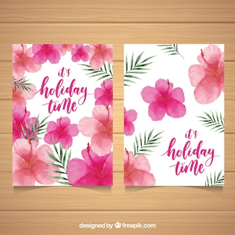 Watercolor flowers cards with palm leaves
