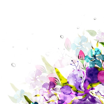 Watercolor flowers decorated background.