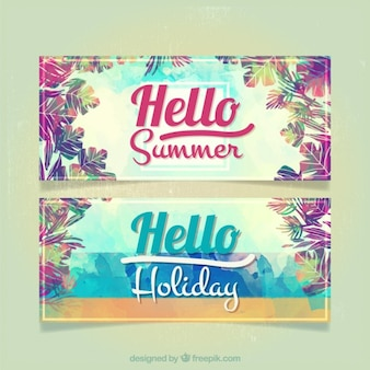 Watercolor flowers summer banners