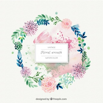 Watercolor flowers with leaves wreath ornament