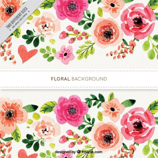 Watercolor flowery background with roses