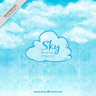 Watercolor fluffy clouds background