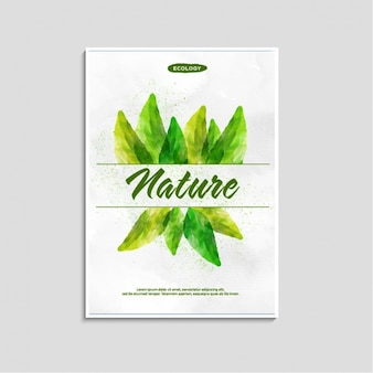 Watercolor flyer with green leaves