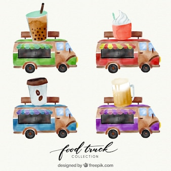 Watercolor food trucks with drinks