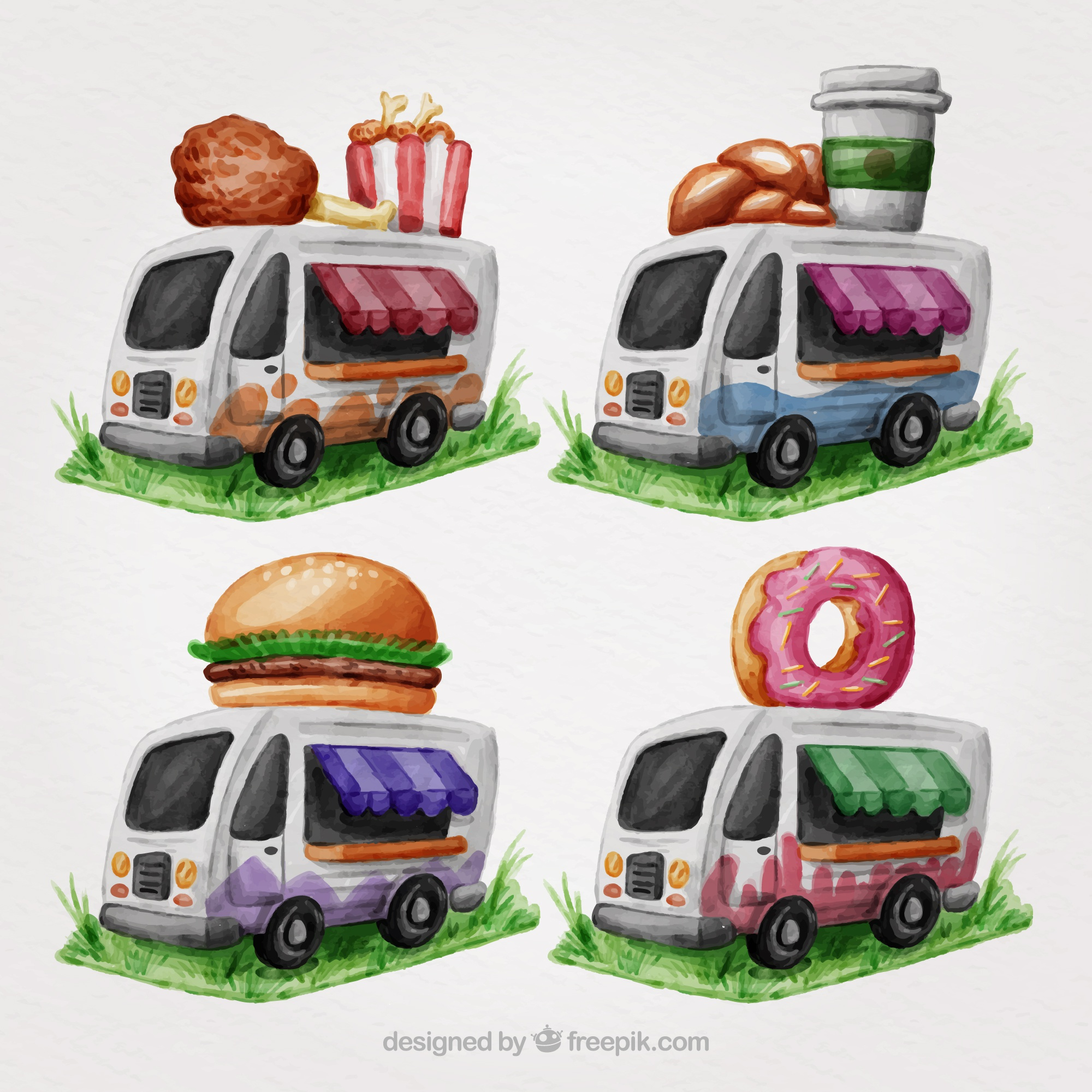 Watercolor food trucks with variety of food