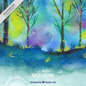 Watercolor forest background