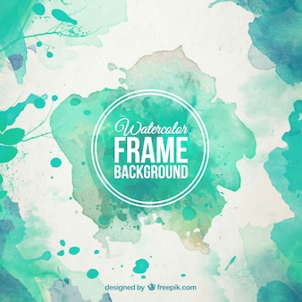Watercolor frame background in turquoise tones
