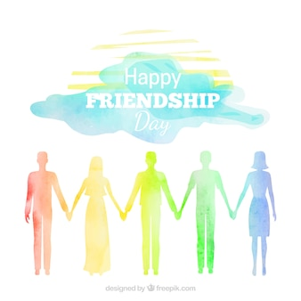 Watercolor friendship background with silhouettes