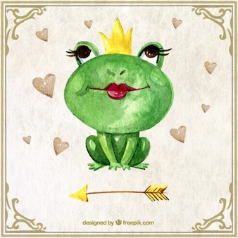 Watercolor frog cute character