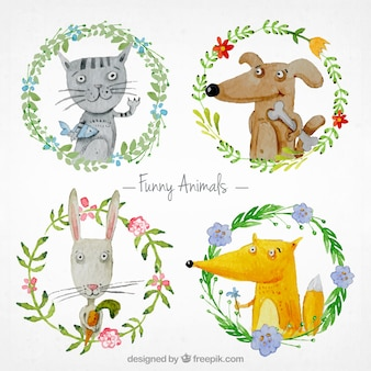 Watercolor funny animals
