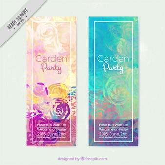 Watercolor garden party invitations