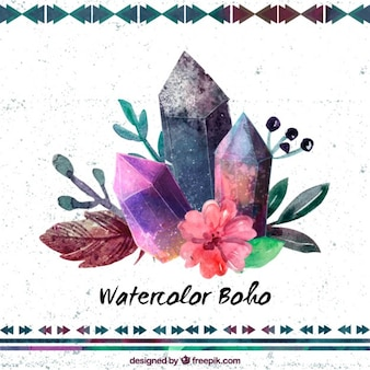 Watercolor gems with flowers