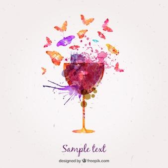 ワインや蝶の水彩ガラス