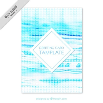 Watercolor greeting card template in abstract style