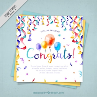 Watercolor greeting card  with balloons and confetti
