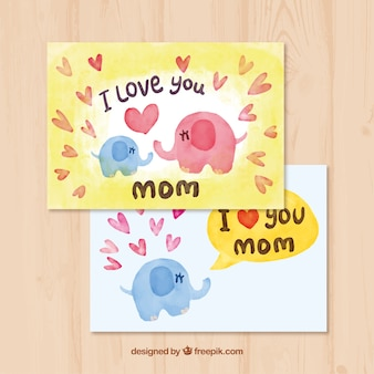 Watercolor greeting card with elephants for mother's day