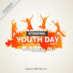 Watercolor grunge youth day background