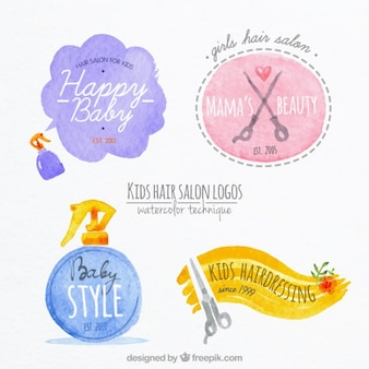 Watercolor hairdressing kid logos