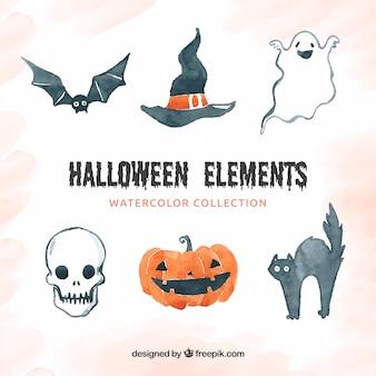 Watercolor halloween accessories set
