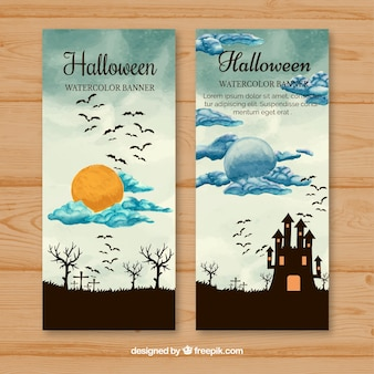 Watercolor halloween banners with landscape