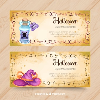Watercolor halloween banners with potion and witch hat