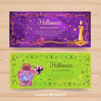 Watercolor halloween banners
