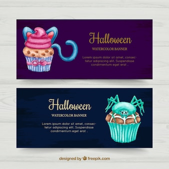 Watercolor halloween cupcakes banners