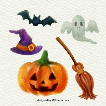 Watercolor halloween elements