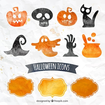 Watercolor halloween icons