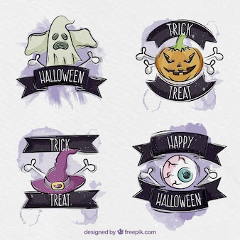 Watercolor halloween labels