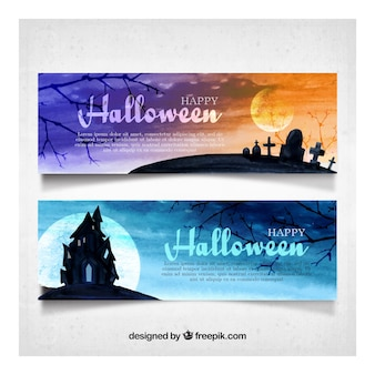 Watercolor halloween landscapes banners