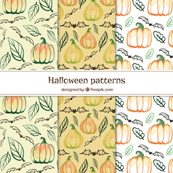 Watercolor halloween patches set