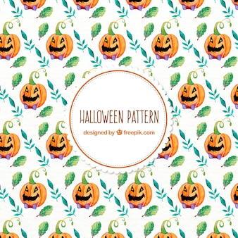 Watercolor halloween pattern with pumpkins and leaves
