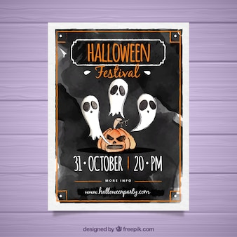 Watercolor halloween poster with ghosts and pumpkin